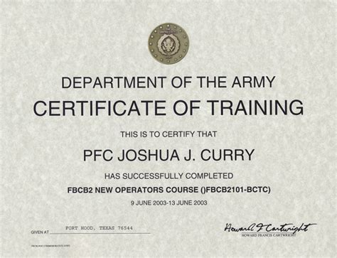 Army Training Certificate Template