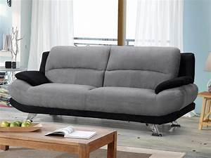canape en microfibre bicolore gris et noir musko With tapis moderne avec canapé 3 places relax tissu