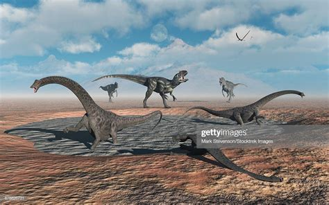 Allosaurus Dinosaurs Prey On Young Diplodocus Dinosaurs