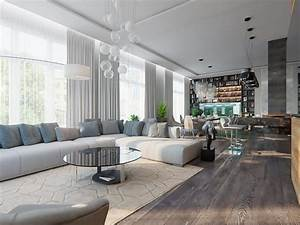 Gorgeous Open Concept Living Room In Contemporary Style ...