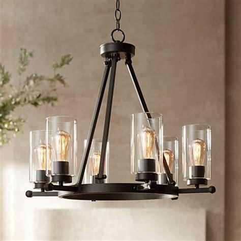 wide chandelier holman bronze 6 light 26 3 4 quot wide industrial chandelier