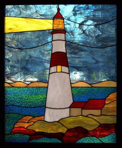stained glass lighthouse l stained glass landscapes on pinterest stained glass