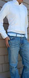 White Tuxedo Shirt Blue Ribbon Belt Light Blue Jeans White Shoes - Menu0026#39;s Fashion For Less