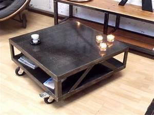 Table Salon Metal : table de salon design m tal table basse carr e style industriel meuble de style industriel ~ Teatrodelosmanantiales.com Idées de Décoration