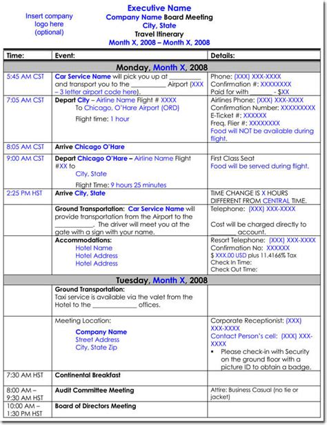 Travel Itinerary Templates by 7 Exle Of An Itinerary For A Business Trip Penn