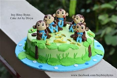 Write name on cake birthday allows you to create personalize birthday cake photos and stickers for your loved ones!!!! Five Little Monkeys cake by Divya Haldipur | Birthday cake ...