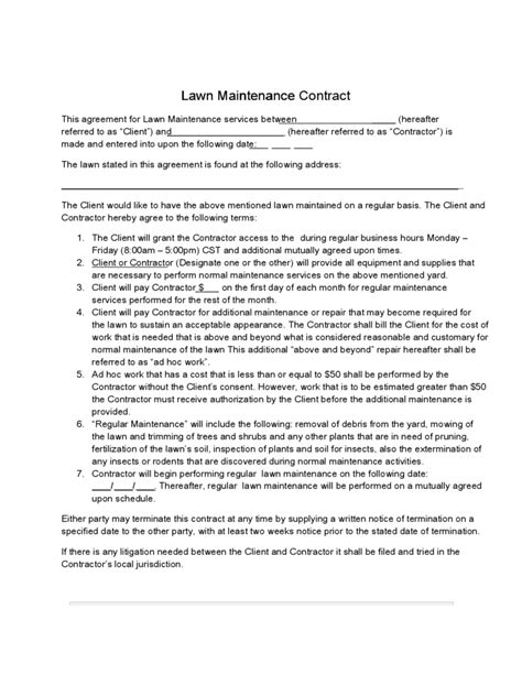 lawn care contract template 2 free templates in pdf