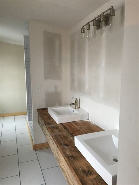bathroom built in storage ideas storage ideas for a floating reclaimed wood vanity