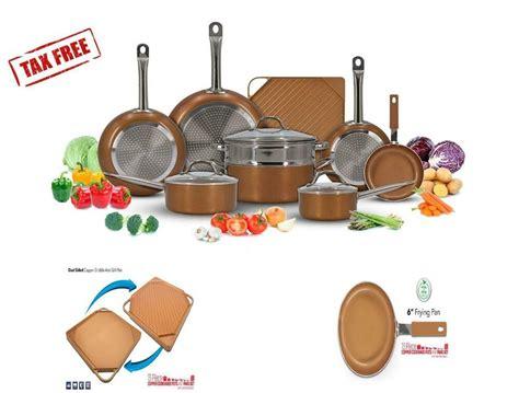 luxury copper kitchen cookware pots pans set   stick griddle  piece unbrand