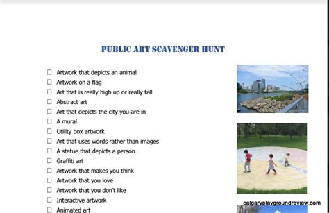 public art scavenger hunt printable