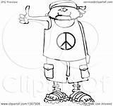 Cartoon Peace Shorts Human Wearing Outline Shirt Sandals Bandana Clipart Male Drawing Hitchhiker Illustration Royalty Lineart Vector Djart Cox Dennis sketch template