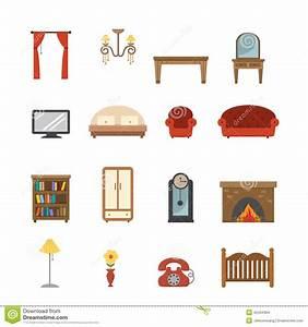 Furniture Icons Cartoon Vector