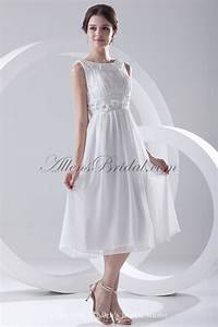 allens bridal chiffon bateau neckline a line tea length With cocktail length wedding dress