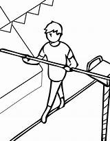 Coloring Tightrope Acrobat Walking Walker Sheets Circus Clifford Getcolorings Template Printable Library Clipart sketch template