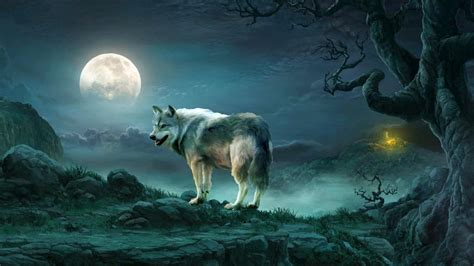 Fantasy Landscape Wallpaper Hd Wolf Under The Full Moon Fantasy Art Wallpaper Wallpaper Studio 10 Tens Of Thousands Hd
