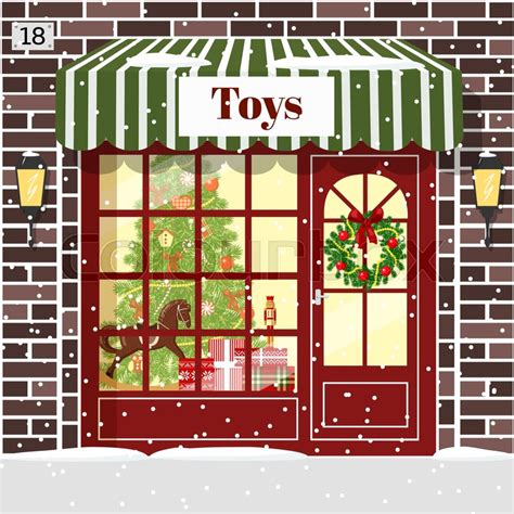 christmas toy shop toy store facade stock vector