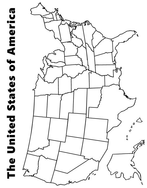map   usa coloring page kids  map united