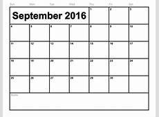 September 2016 Calendar Pdf monthly calendar printable