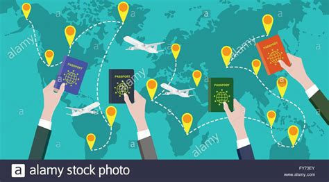 Traveling Around The World With People Hand Passport Stock