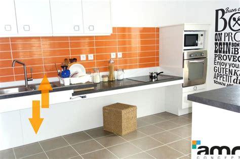 hauteur plan travail cuisine cuisine hauteur variable manuelle accessible pour personne