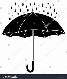 Umbrella Rain Drops Black Silhouette On Stock Vector ...
