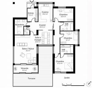 plan maison en u avec veranda ooreka With superb voir sa maison en 3d 2 plan maison en bois de plain pied ooreka