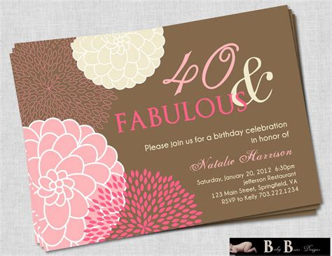 40th Birthday Invitations for Women FREE Invitation