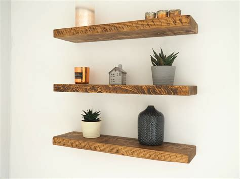 rustic floating shelves chunky wood shelf mantel