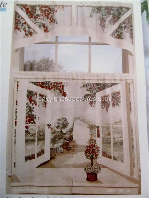 cafe curtains window art mural cottage garden scene tiers