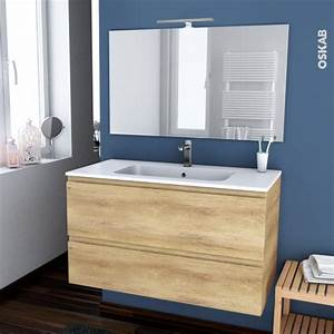 ensemble salle de bains meuble ipoma bois plan vasque With vasque resine salle de bain