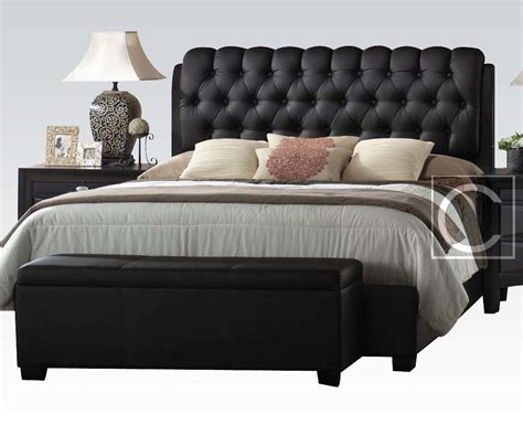 King Size Button Tuff Plush Headboard Black Leather Bed