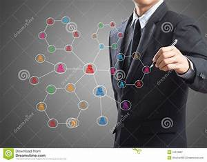 Business Man Drawing Social Network Structure Stock Illustration