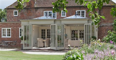 double doors open  unusual orangery design
