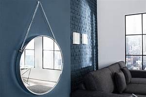 Runder Spiegel Silber : gro er runder design spiegel portrait 45cm silber mit kettenaufh ngung chrom finish riess ~ Whattoseeinmadrid.com Haus und Dekorationen