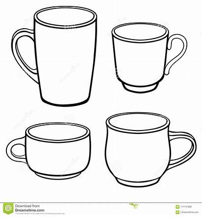 Coffee Drawing Line Cups Coloring Mugs Different