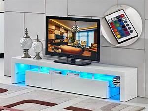 Tele 190 Cm : meuble tv led tina 188 x 34 x 38 cm blanc laqu 85389 ~ Teatrodelosmanantiales.com Idées de Décoration