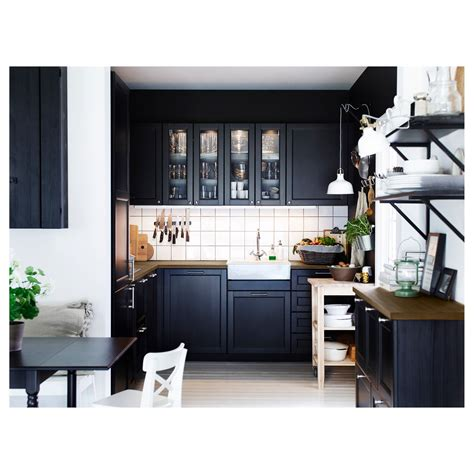 cuisine laxarby laxarby door black brown 40x80 cm ikea
