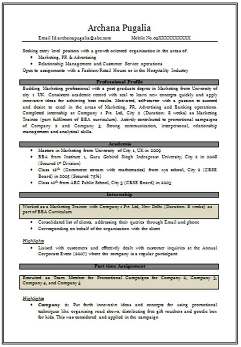 sle resume for mba marketing experience gallery