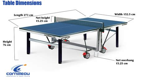 table tennis table measurements size and dimensions