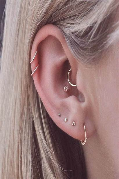 Helix Double Piercings Four Piercing Ear Conch