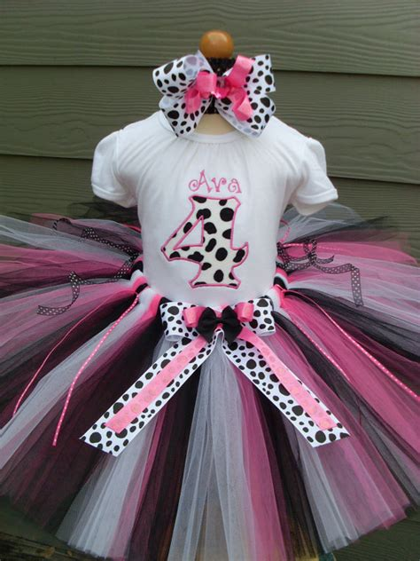 personalized pink black white dalmation birthday tutu