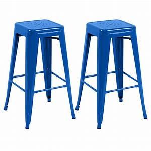 Tabouret De Bar Bleu : tabouret de bar indus bleu lot de 2 retrouvez nos tabourets de bar indus bleus rdv d co ~ Teatrodelosmanantiales.com Idées de Décoration