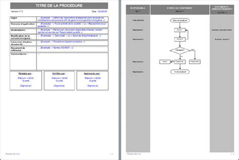 modèle procédure de travail proc 233 dure qualit 233 type standard iso modele lettre