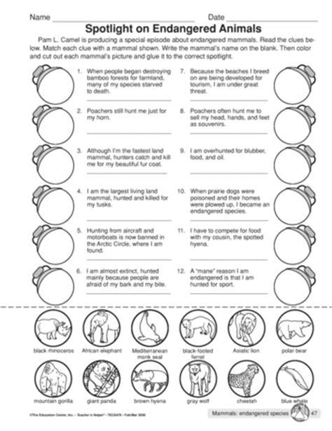 endangered species worksheets for kindergarten
