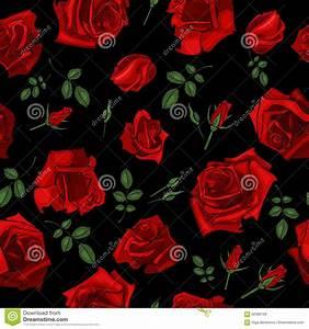 Vector Seamless Black Roses Pattern Vector Illustration