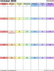october  calendar templates  word excel