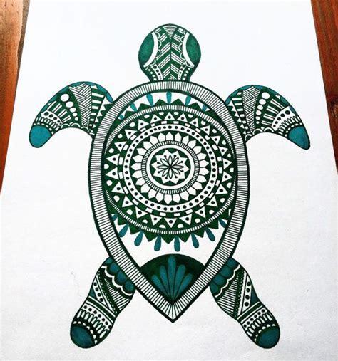 zentangle turtle mandala  bohovida  etsy tatouages