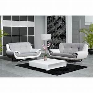 Canapé 3 2 Places : canape design 3 2 places revetement pu et tissu achat vente canap sofa divan pu ~ Teatrodelosmanantiales.com Idées de Décoration