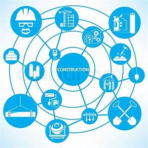 Construction Management  Blue Connecting Network Diagram