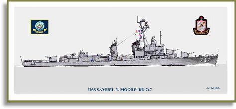 USS Samuel N. Moore DD 747 in 60s Ship Print - Destroyers